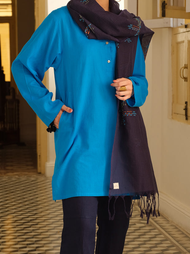 Blue Hand-Woven Cotton Tunic - ALCR-LK-1005
