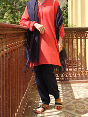 Red Hand-Woven Cotton Tunic - ALCR-LK-1006