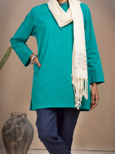 Turquoise Hand-Woven Cotton Tunic - ALCR-LK-1008