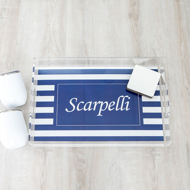 Lucite Serving Tray with Handles - Personalized