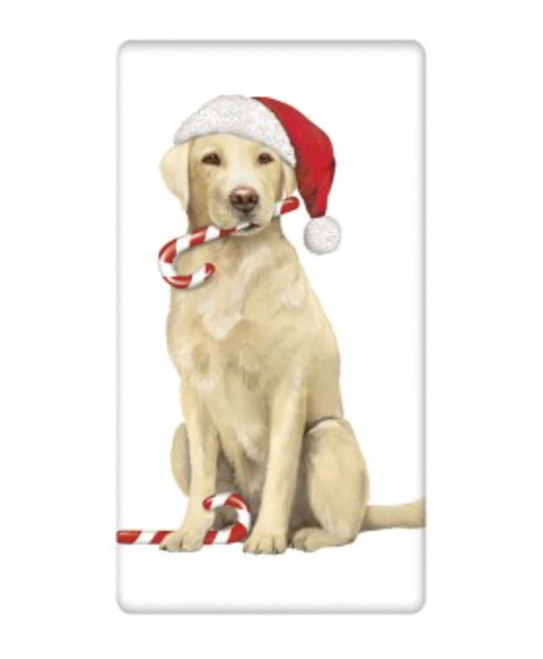 Flour Sack Towel - Dog Holiday Yellow Lab