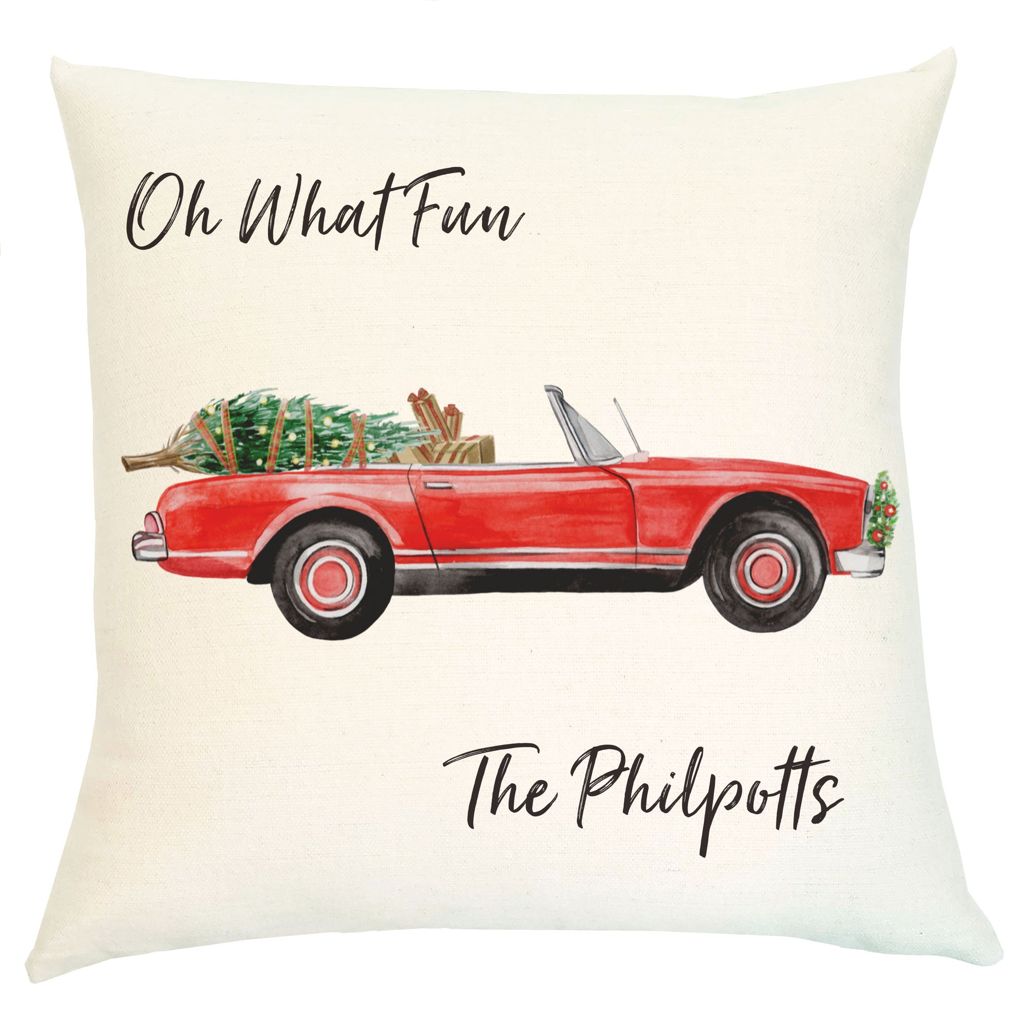 Pillow Personalized - Red Convertible Holiday