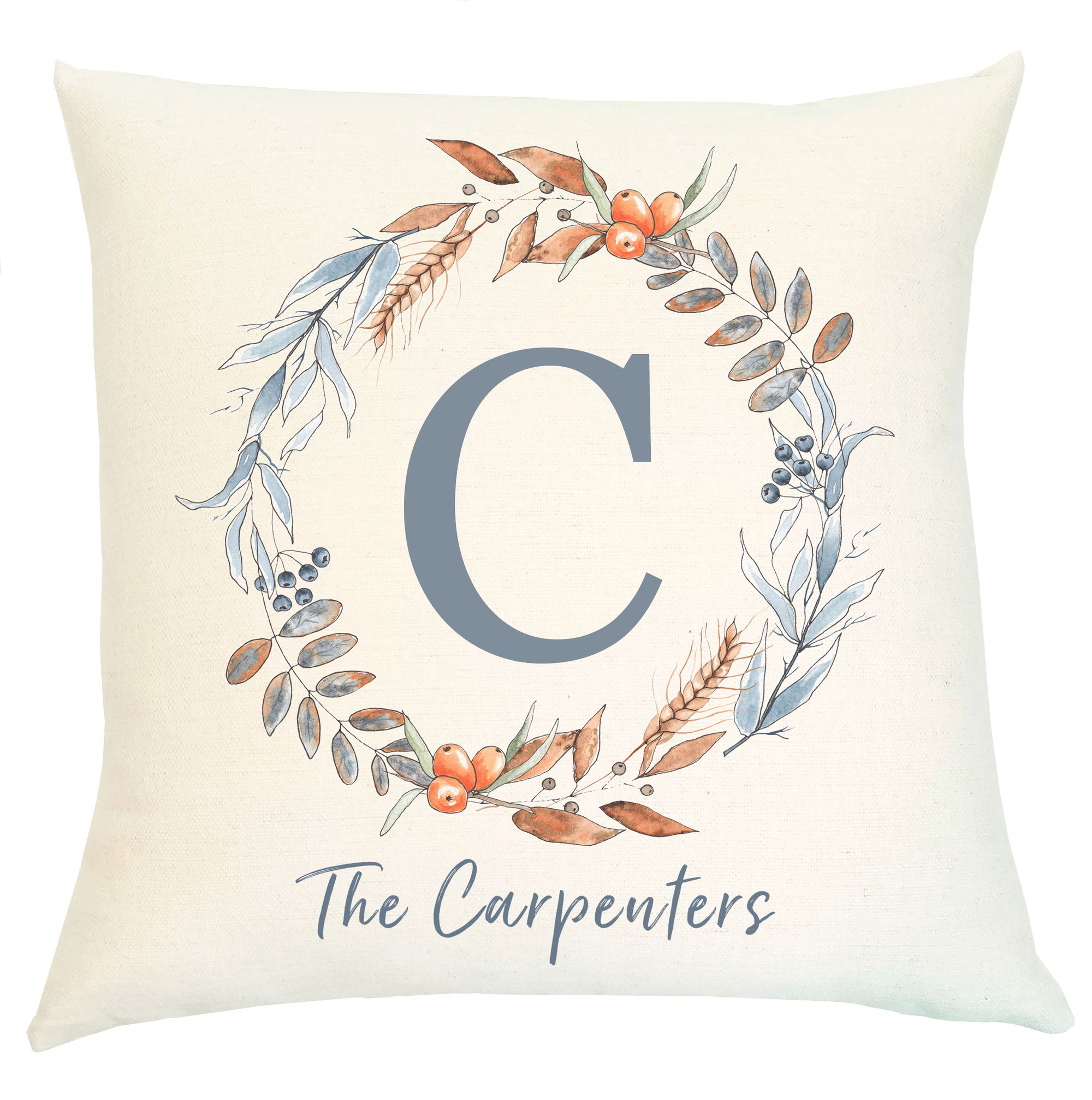 Pillow Personalized - Blue Wreath with Initial