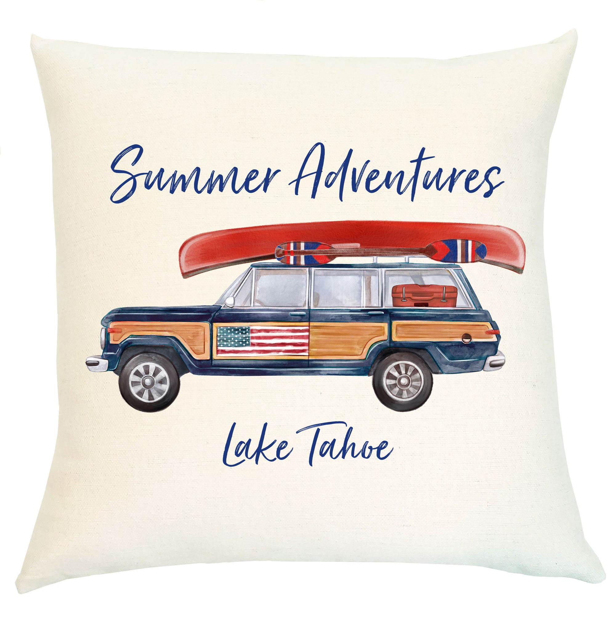 "Pillow Personalized - Woody Jeep ""Summer Adventures"""