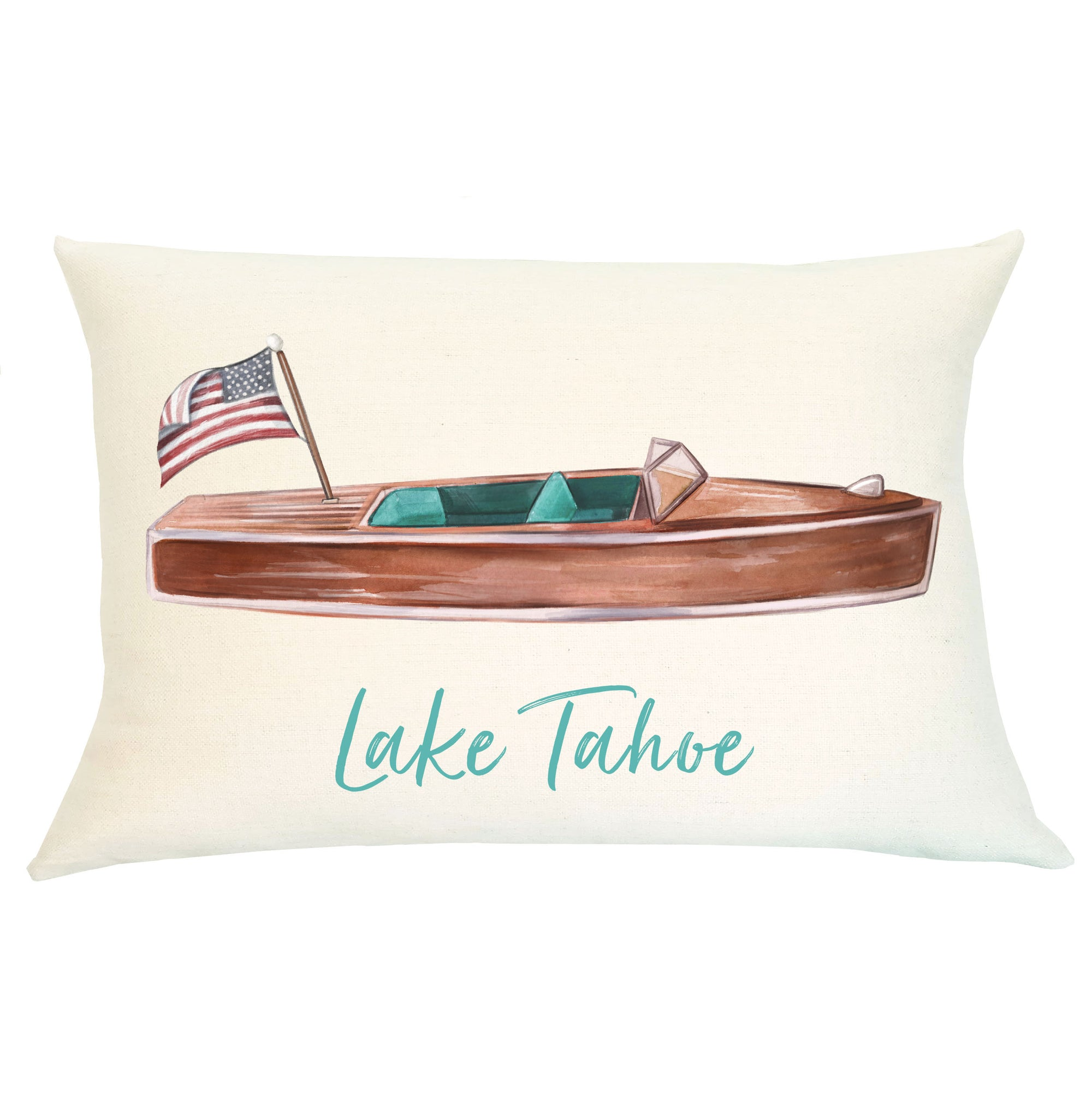 Pillow Lumbar Personalized -  Woody Boat - Insert Included