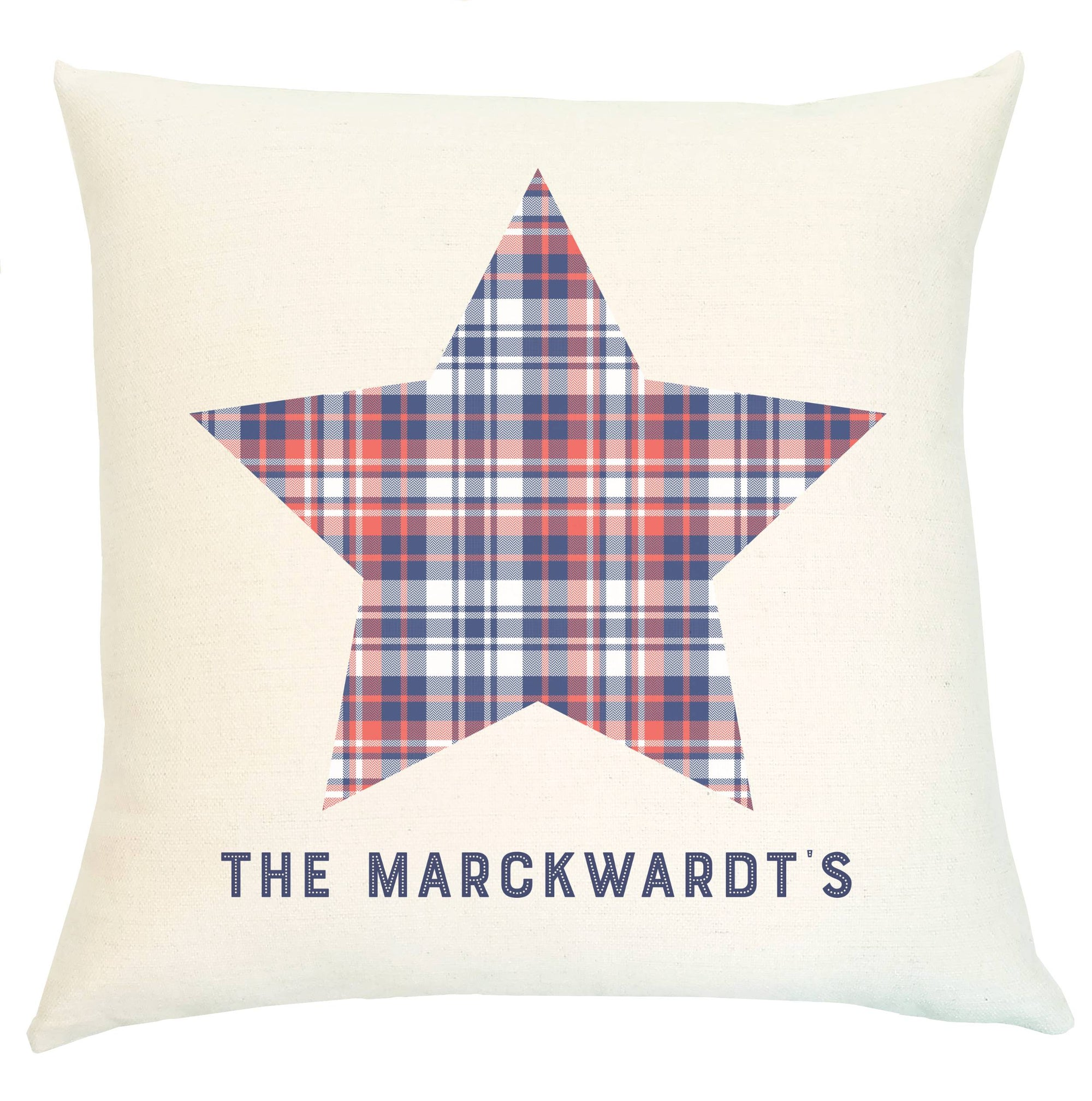 Pillow Personalized - Everyday Heroes with Plaid Star