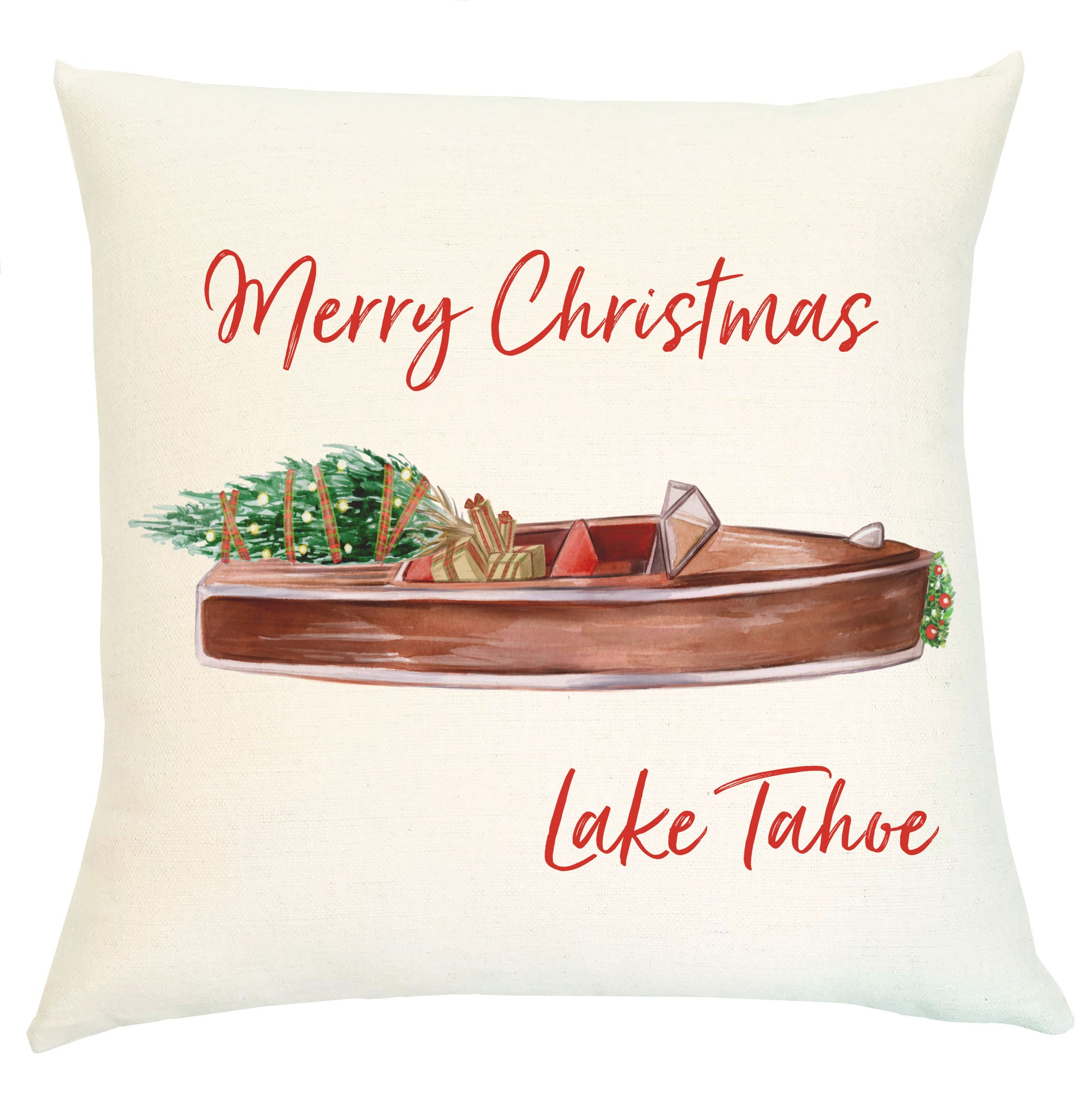 Pillow Personalized - Vintage Woody Boat Merry Christmas