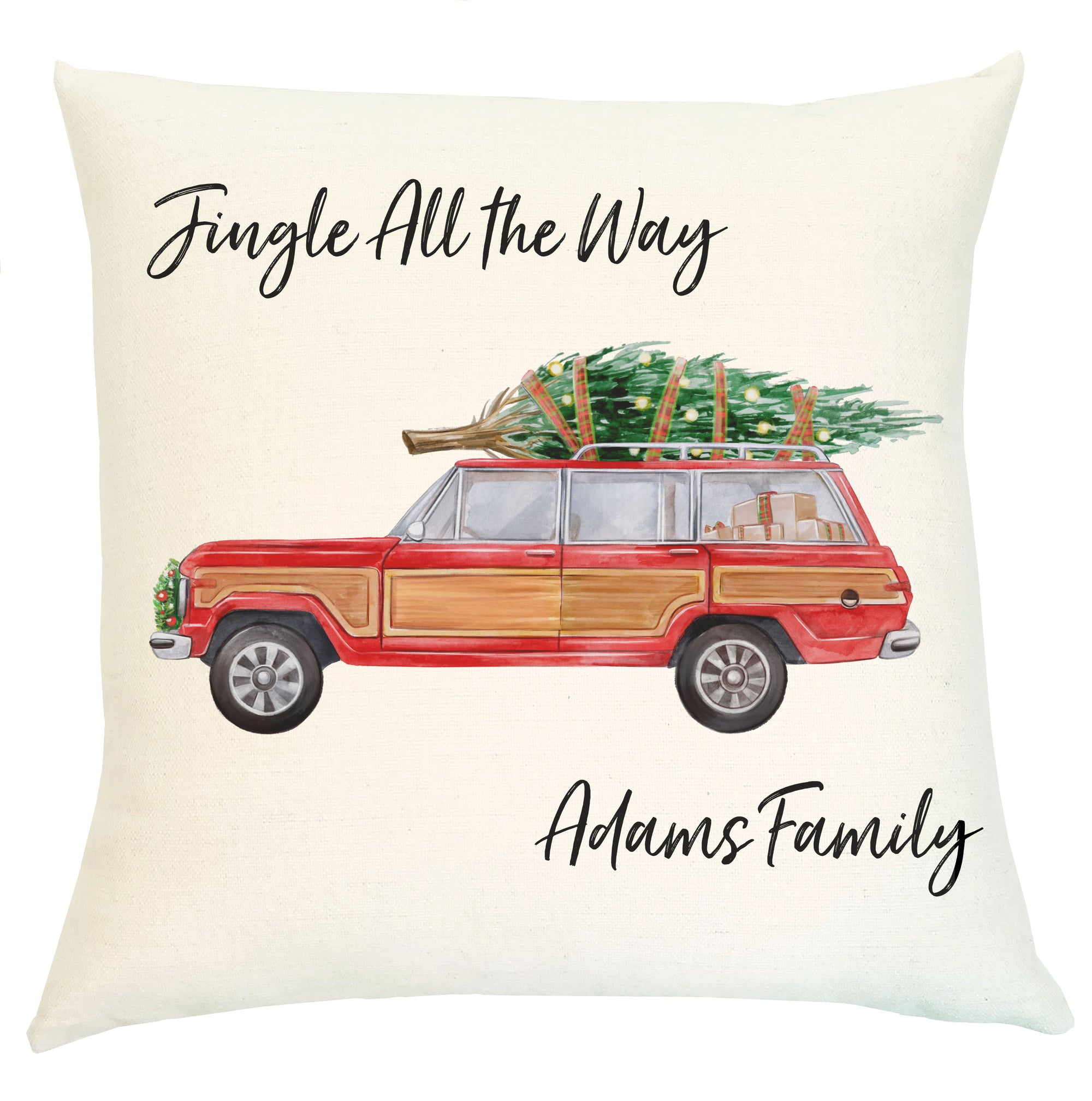 Pillow Personalized - Vintage Woody Jeep
