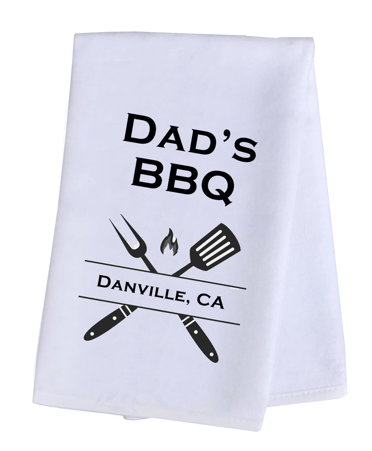 Hand Towel Plush Personalized - Dad's BBQ with Your Choice of Location