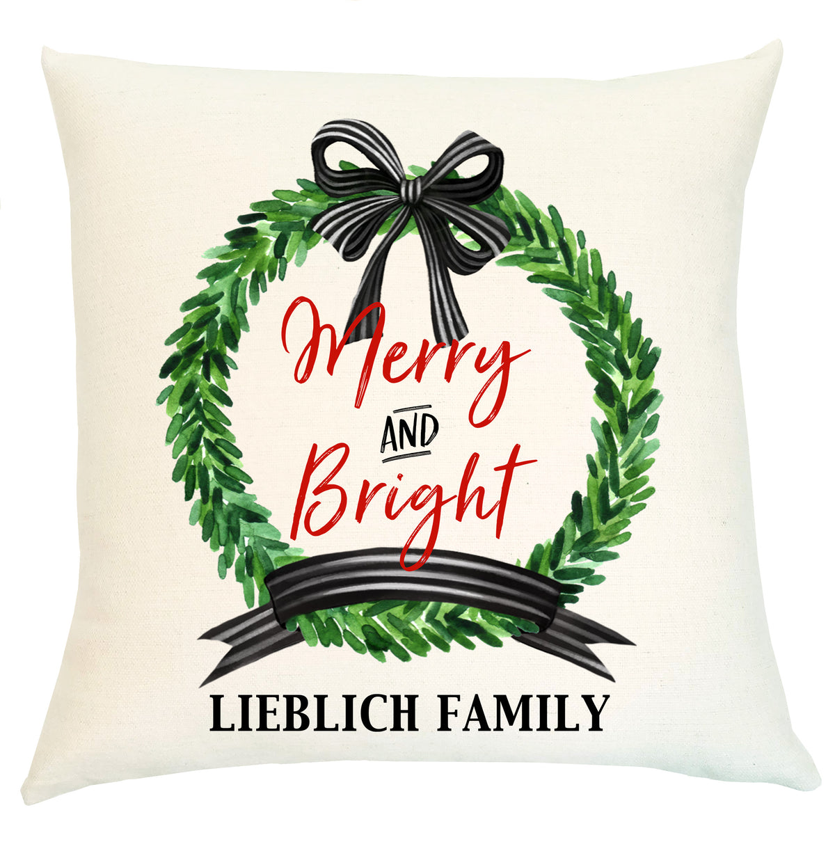 Pillow Personalized - Wreath Black and White Merry and Bright
