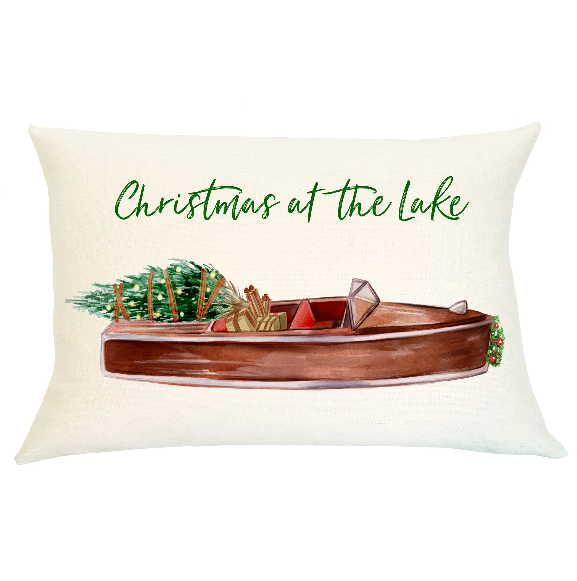Pillow Lumbar - Christmas at the Lake - Insert Included