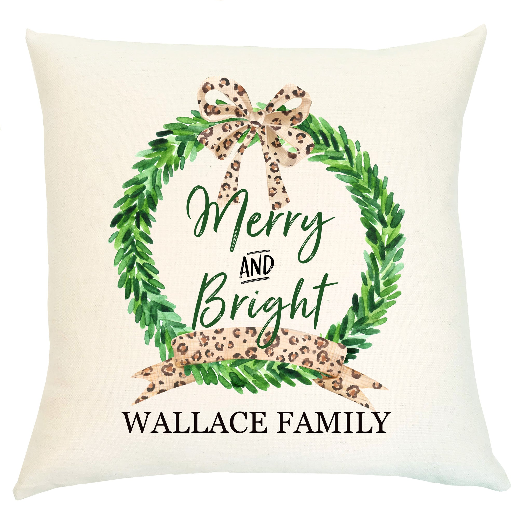 Pillow Personalized - Wreath Leopard Merry and Bright