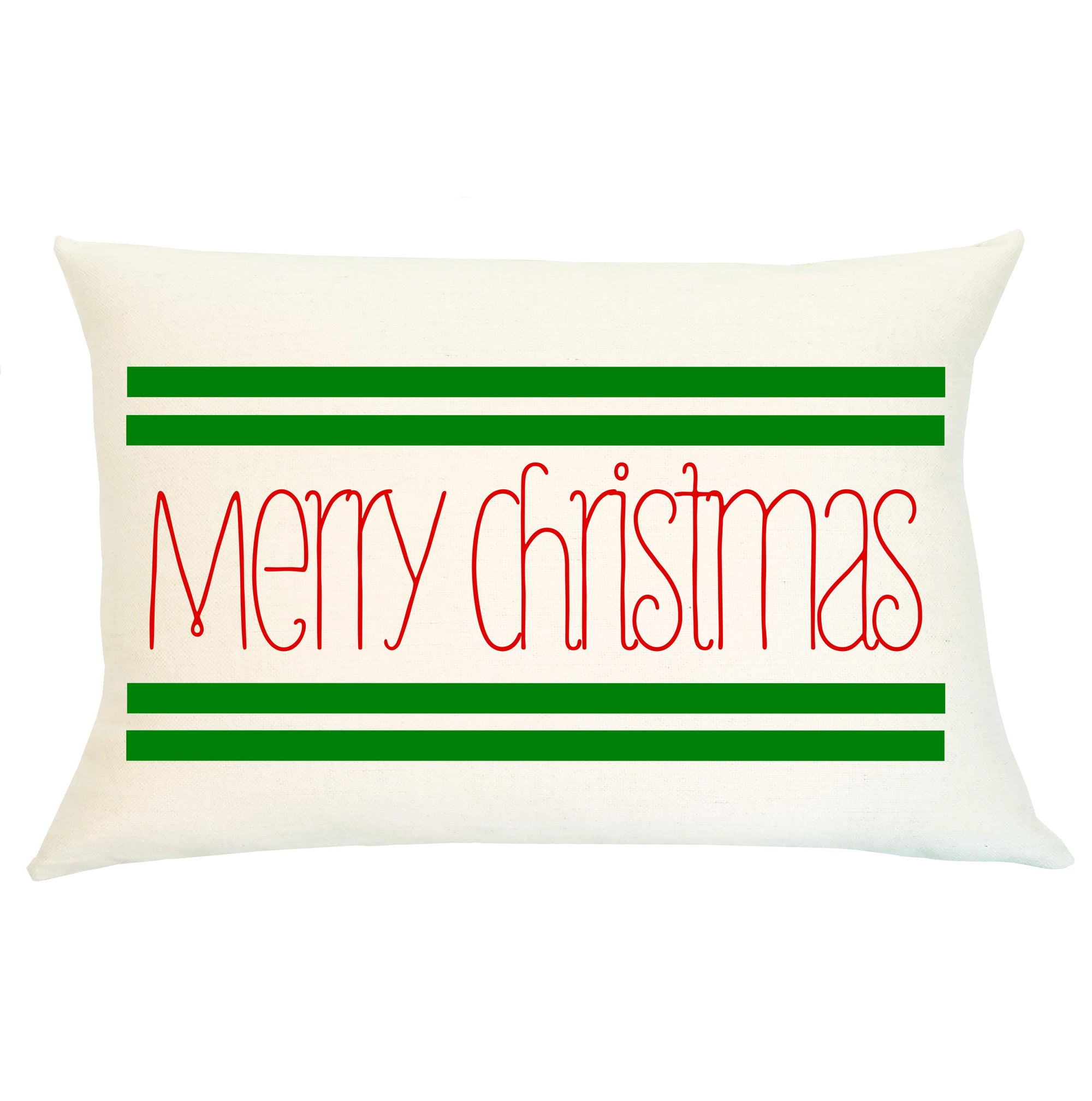 Pillow Lumbar - Merry Christmas Stripe - Insert Included
