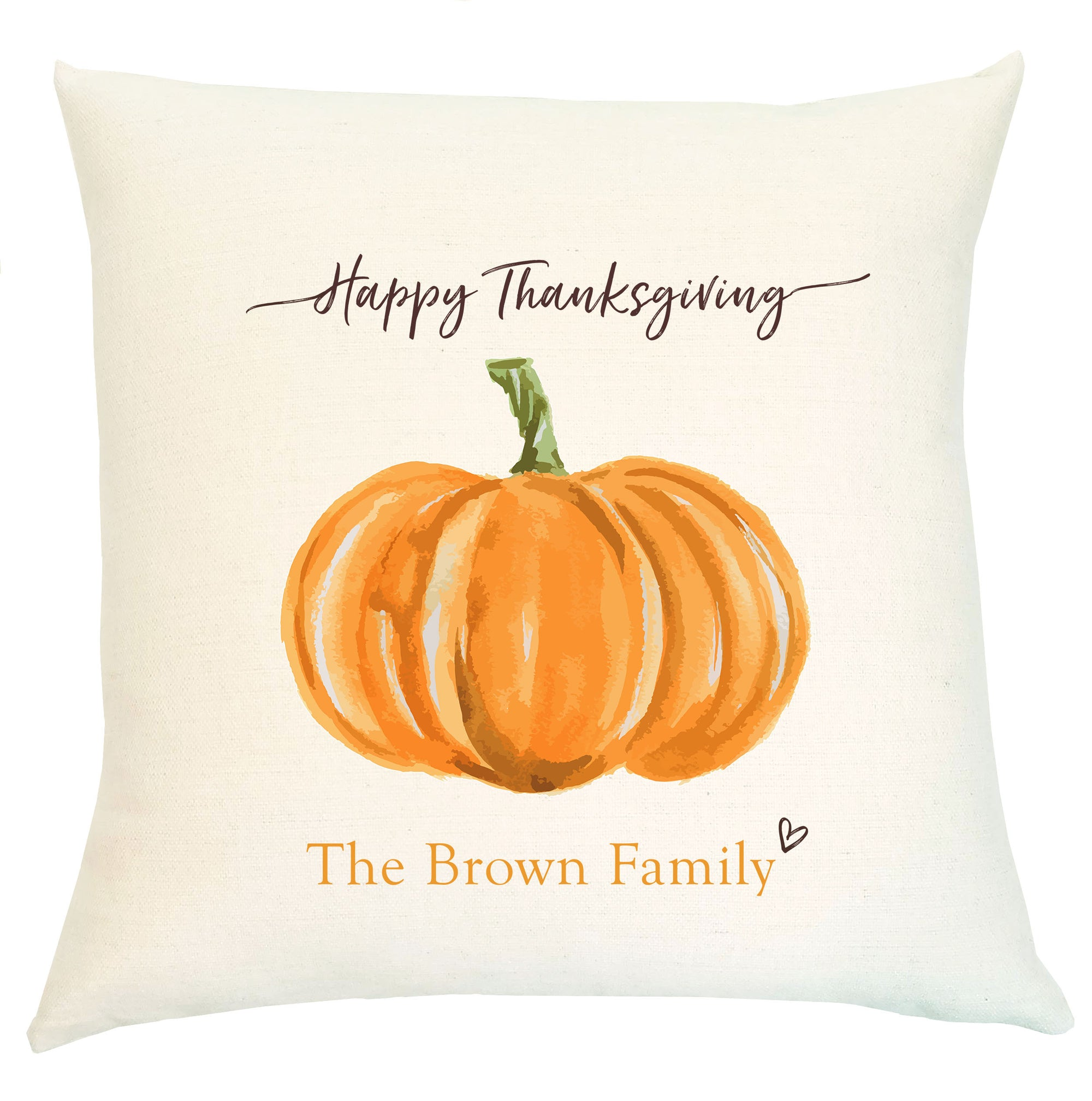 Pillow Personalized - Orange Pumpkin Happy Thanksgiving