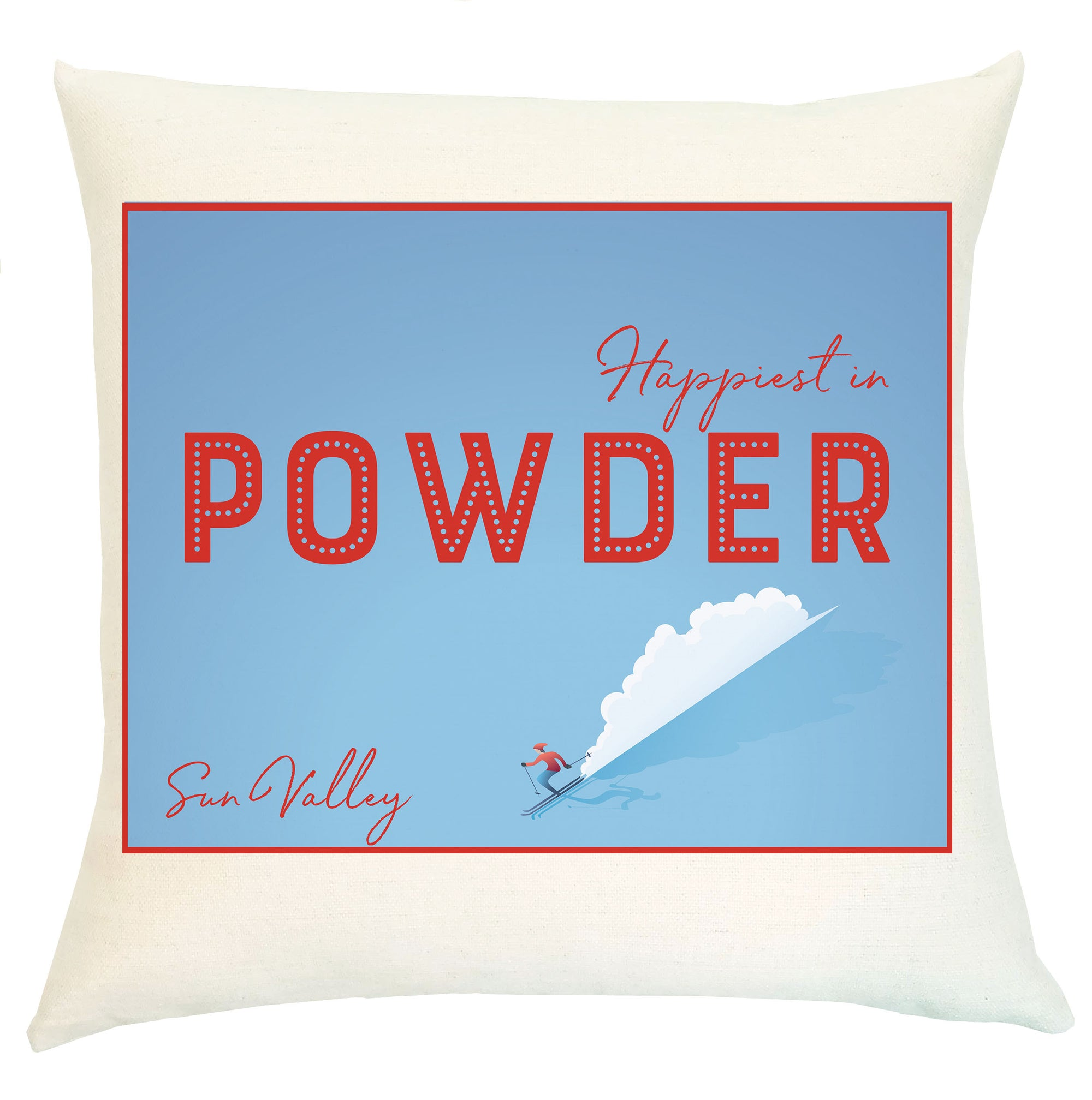 Pillow Personalized - Ski Happiest in Powder