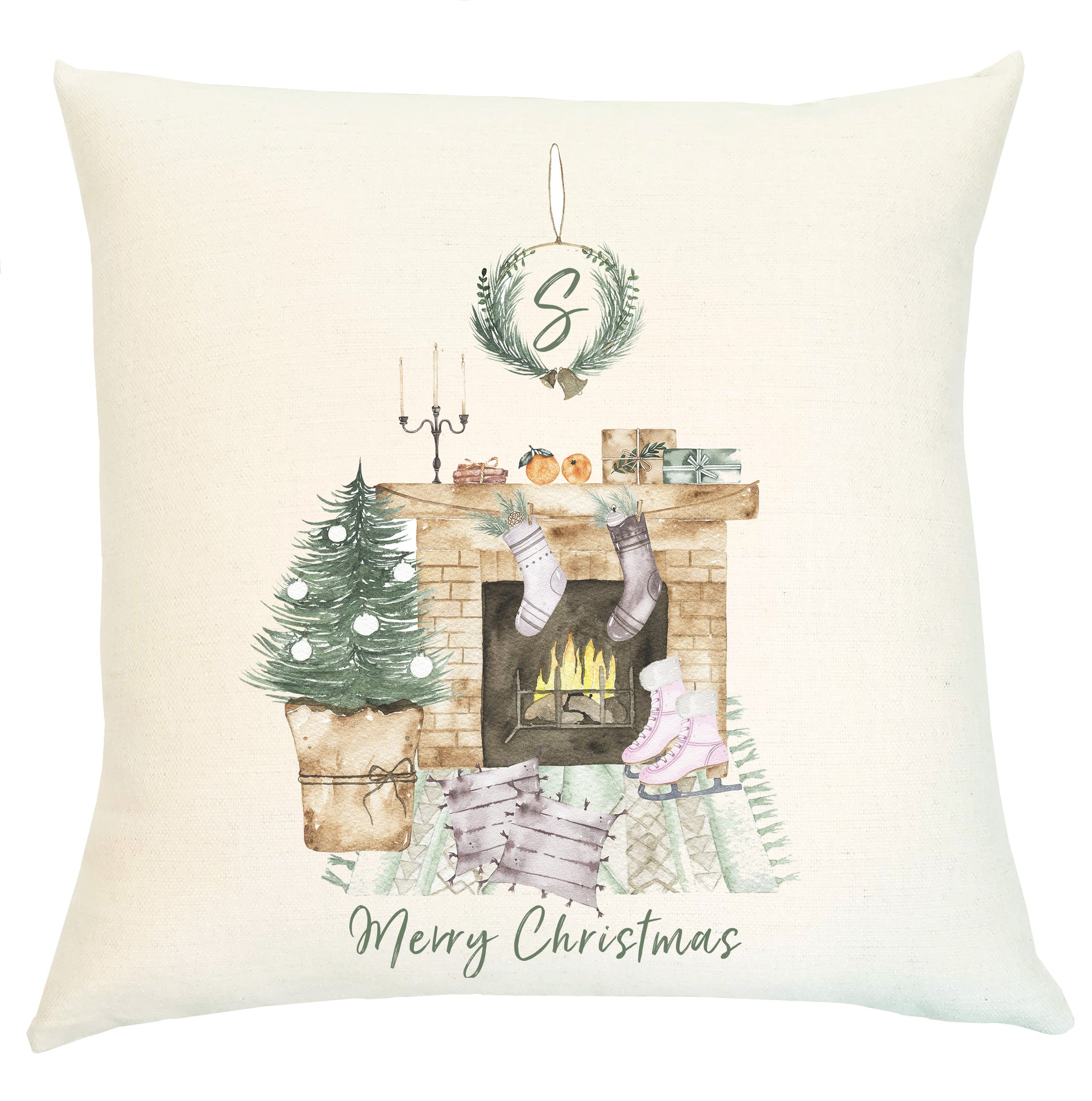 Pillow Personalized - Vintage Fireplace Scene