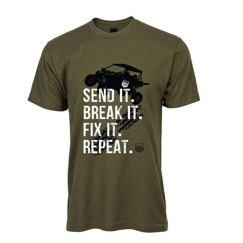 """Send it"" Off-road tee in Military Green - Iron Mountain Resort"