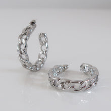 Load image into Gallery viewer, Gabrielle Cuban Hoop Earrings - Silver