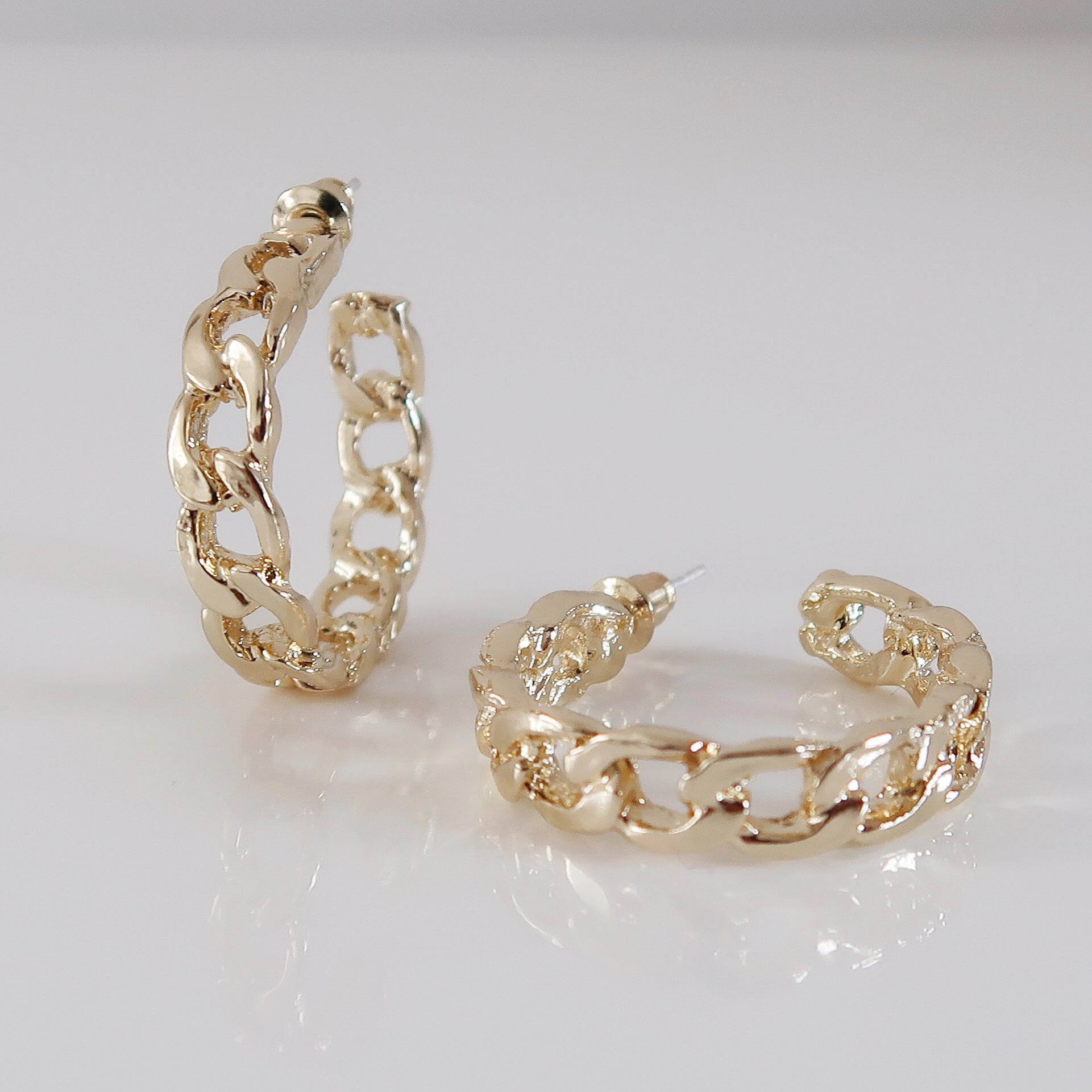 Gabrielle Cuban Hoop Earrings - Gold
