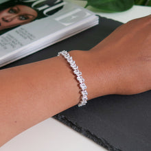 Load image into Gallery viewer, Rebecca Staggered Diamante Bracelet - Silver