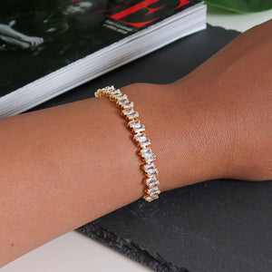 Rebecca Staggered Diamante Bracelet - Gold