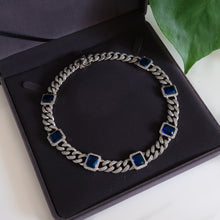 Load image into Gallery viewer, Daniella Silver Cuban Necklace - Blue (Pre-order*)