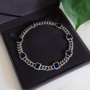 Daniella Silver Cuban Necklace - Blue (Pre-order*)