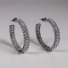 Load image into Gallery viewer, Kate Stacked Diamante hoop earrings - Silver
