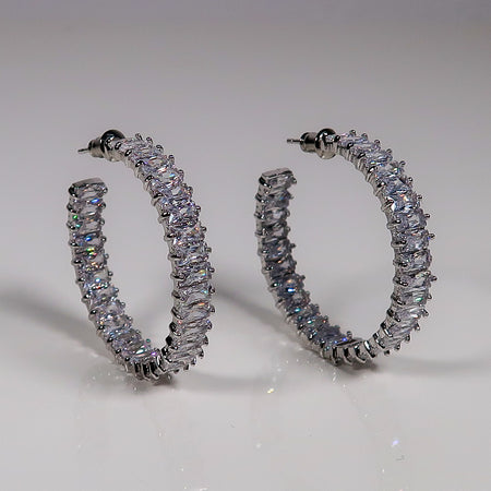 Kate Stacked Diamante hoop earrings - Silver