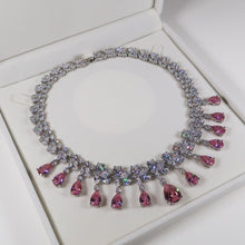 Load image into Gallery viewer, Dynasty Teardrop Cluster Silver Necklace - Pink