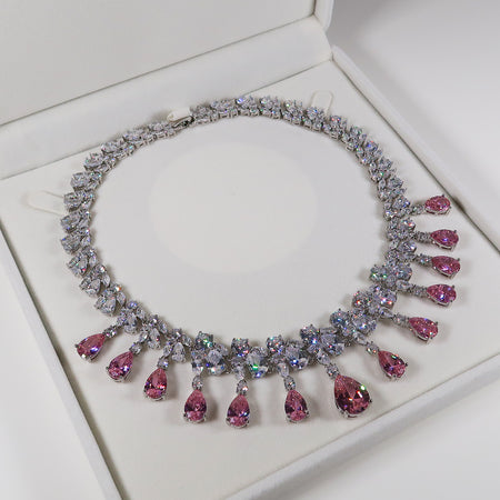 Dynasty Teardrop Cluster Silver Necklace - Pink