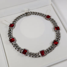Load image into Gallery viewer, Daniella Silver Cuban Necklace - Red (Pre-Order*)