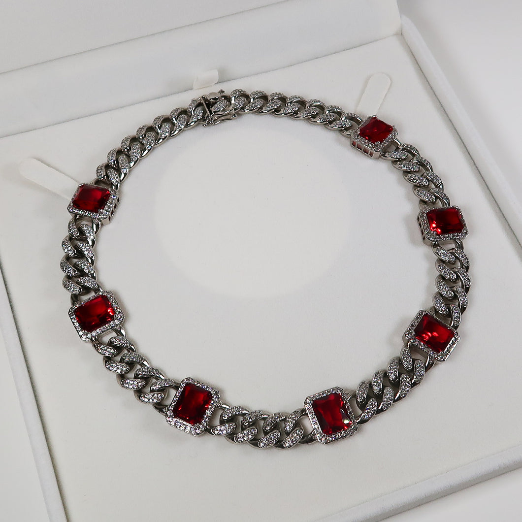 Daniella Silver Cuban Necklace - Red (Pre-Order*)