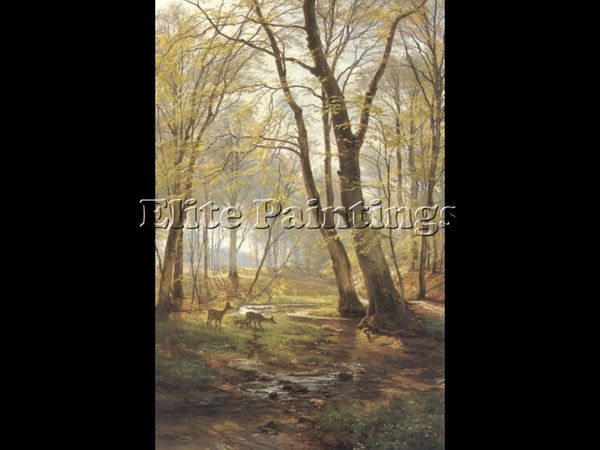 CARL FREDRIK AAGARD A WOODLAND SCENE WITH DEER2 ARTIST PAINTING REPRODUCTION OIL