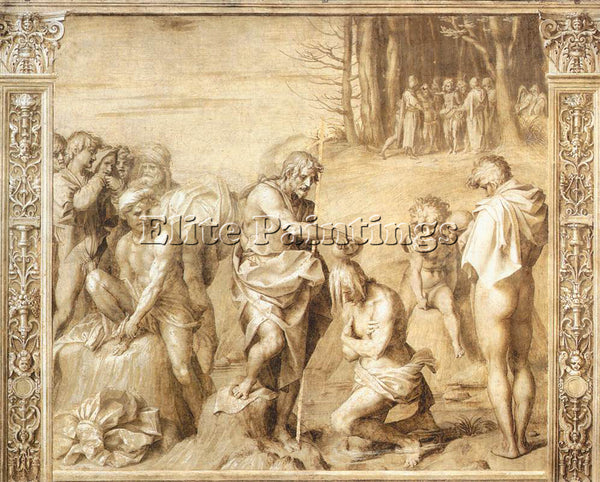 ANDREA DEL SARTO BAPTISM OF THE PEOPLE ARTIST PAINTING REPRODUCTION HANDMADE OIL