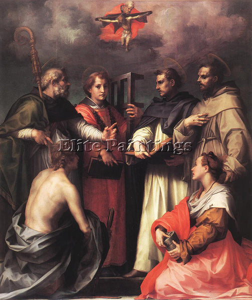 ANDREA DEL SARTO DISPUTATION OVER THE TRINITY ARTIST PAINTING REPRODUCTION OIL