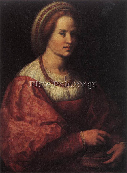 ANDREA DEL SARTO PORTRAIT OF A WOMAN WITH A BASKET OF SPINDLES PAINTING HANDMADE