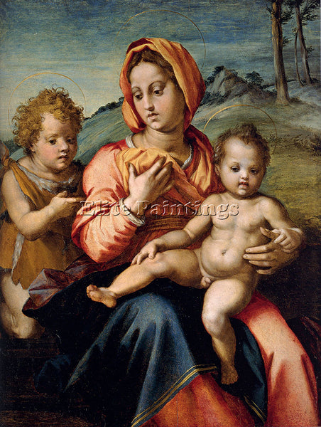 ANDREA DEL SARTO MADONNA AND CHILD WITH INFANT SAINT JOHN IN LANDSCAPE PAINTING