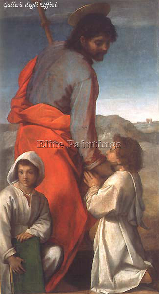ANDREA DEL SARTO ST JAMES WITH TWO CHILDREN ARTIST PAINTING HANDMADE OIL CANVAS