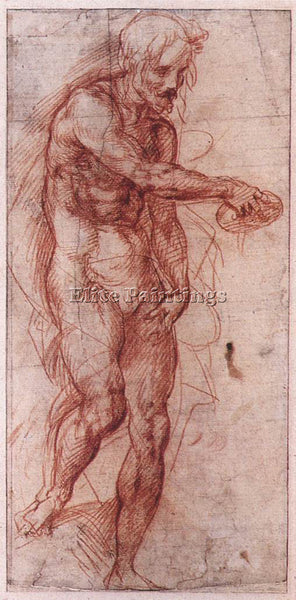 ANDREA DEL SARTO STUDY FOR THE BAPTISM OF THE PEOPLE ARTIST PAINTING HANDMADE