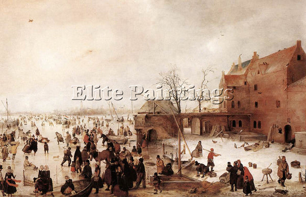 HENDRICK AVERCAMP A SCENE ON THE ICE NEAR A TOWN 1615 ARTIST PAINTING HANDMADE