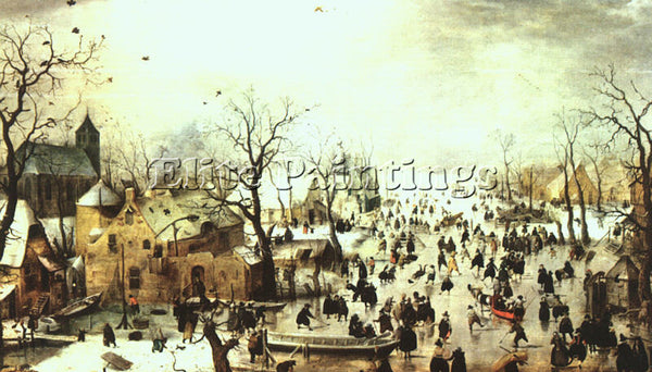 HENDRICK AVERCAMP A SCENE ON THE ICE NEAR A TOWN ARTIST PAINTING HANDMADE CANVAS