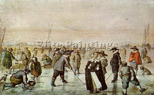 HENDRICK AVERCAMP A SCENE ON THE ICE ARTIST PAINTING REPRODUCTION HANDMADE OIL