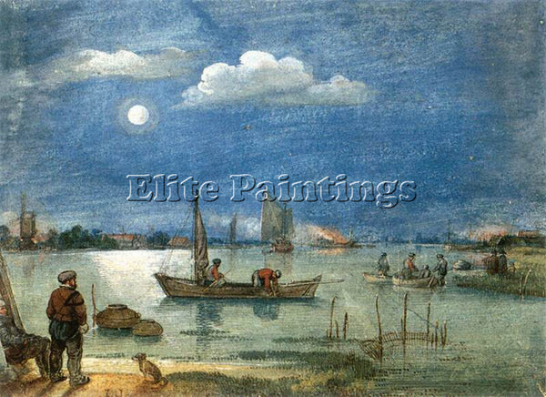 HENDRICK AVERCAMP FISHERMEN BY MOONLIGHT ARTIST PAINTING REPRODUCTION HANDMADE