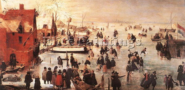 HENDRICK AVERCAMP ICE LANDSCAPE ARTIST PAINTING REPRODUCTION HANDMADE OIL CANVAS