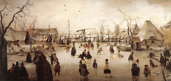 HENDRICK AVERCAMP ICE SCENE 2 ARTIST PAINTING REPRODUCTION HANDMADE CANVAS REPRO