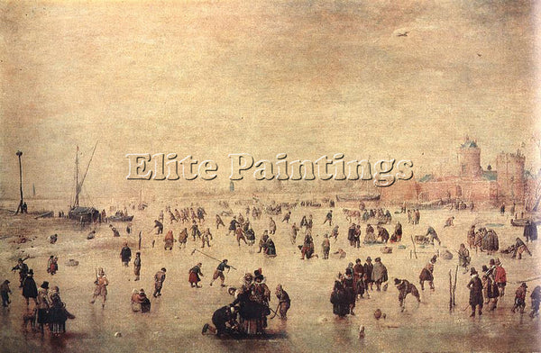 HENDRICK AVERCAMP SKATERS ARTIST PAINTING REPRODUCTION HANDMADE OIL CANVAS REPRO