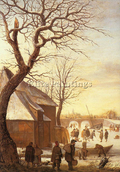 HENDRICK AVERCAMP WINTER LANDSCAPE 2 ARTIST PAINTING REPRODUCTION HANDMADE OIL