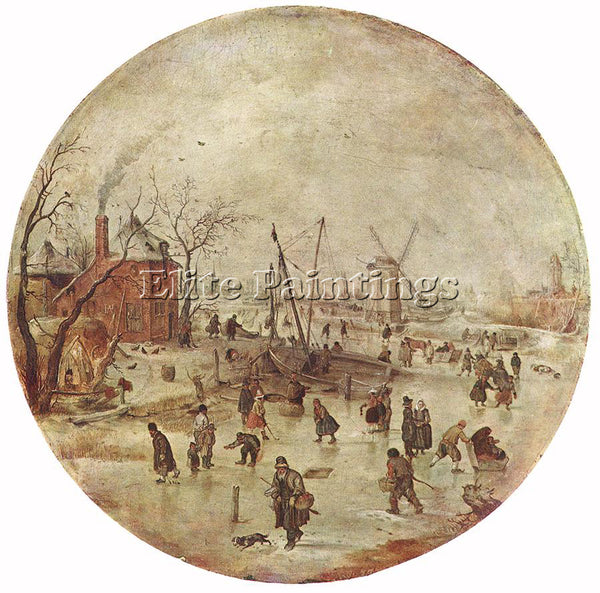 HENDRICK AVERCAMP WINTER LANDSCAPE WITH SKATERS ARTIST PAINTING REPRODUCTION OIL
