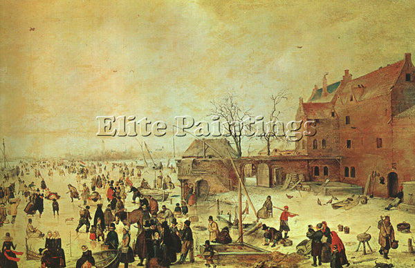 HENDRICK AVERCAMP WINTER LANDSCAPE ARTIST PAINTING REPRODUCTION HANDMADE OIL ART